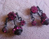 Vintage new from OLD STock HOT pink black rhinestone pierced earrings VE 516
