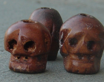Vintage Datewood Skull Beads. Memento Mori. Day of the Dead. NOS. Two.