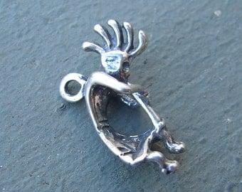 Sterling Silver Kachina Charm. Kokopelli. Old. 3-D.