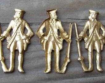 Brass Militiamen Stampings. Military. NOS. Two. Vintage.