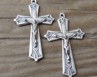 Vintage Art Deco Silvertone Crucifix. One.