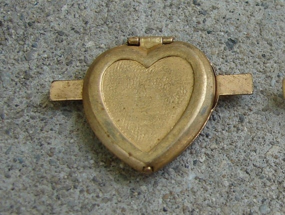 Two Vintage Brass Heart Locket Connectors.