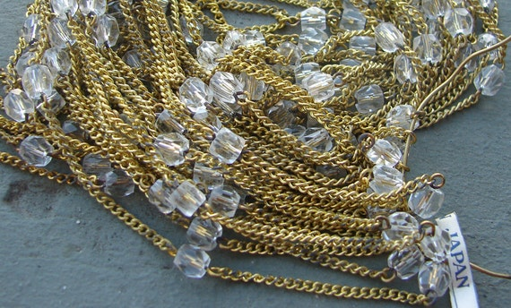 Faceted Glass Beaded Brass Chain. Beaded Linked Chain. Vintage. Crystal.