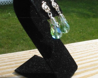 Green crystal drop earrings for Renaissance Bridal Gown - Christelle