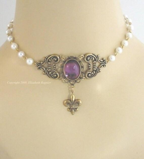 Renaissance costume choker fleur necklace - Marie - brass / amethyst glass