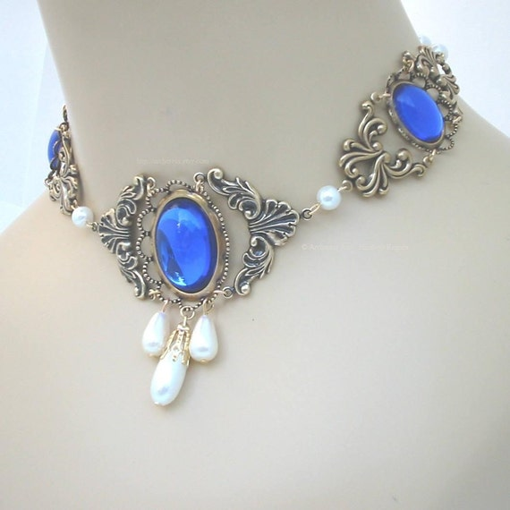 Blue SCA Renaissance Choker Necklace for Wedding Gown - Jessica II
