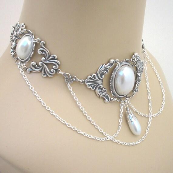 Renaissance white pearl and silver tone wedding choker - Rose