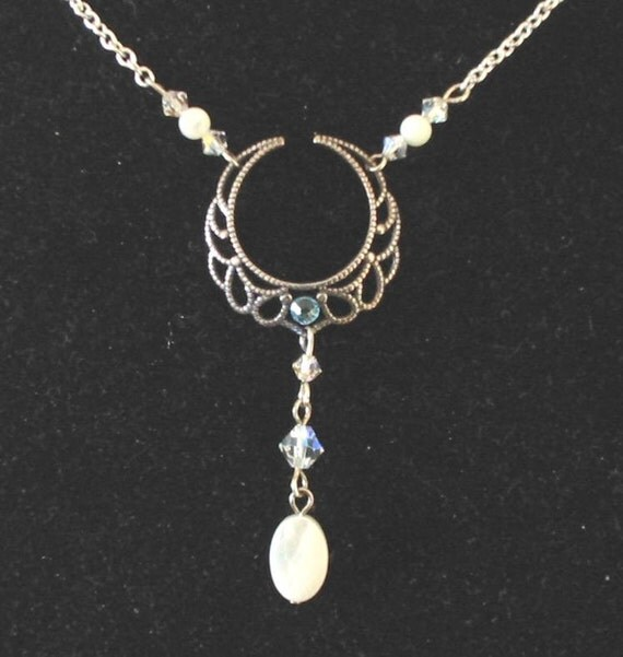 Crescent moon wicca pagan goddess necklace Diana by archeress