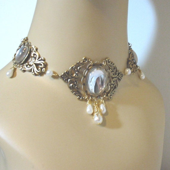 Jessica 2 - Crystal Renaissance Princess Wedding Pearl Choker for Gown or Dress
