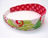 Child Reversible Headband - Holiday Yule Trees with Red/Pink Polka Dot