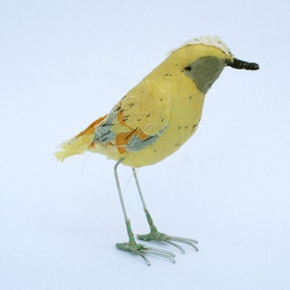 Small fabric bird- YELLOW