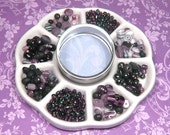 Reserved for Kabukikreations - Purple and Black Bead Mix and Tin