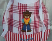 Howdy Pardner Cowboy Teddy Toddler Bib Reversible  Food Fights Allowed