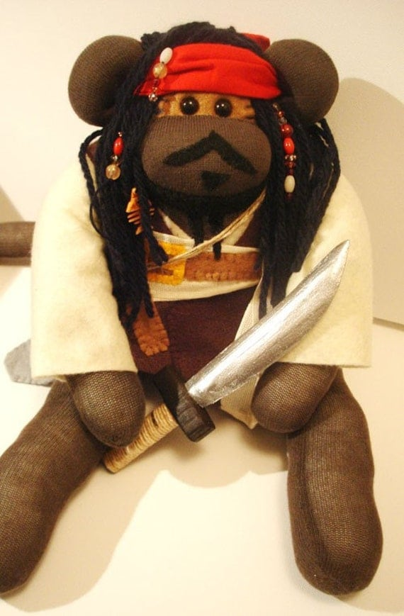 Sock Monkey Captain Jack Sparrow Pirate