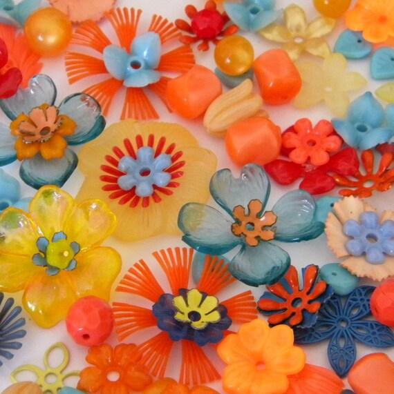 Vintage Stacking Flowers Yellow Blue Orange