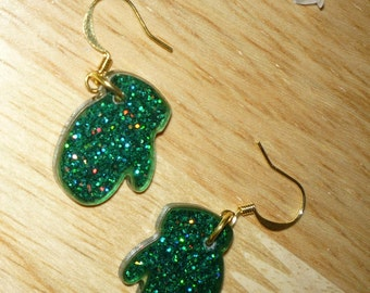 Green Glitter Mittens Earrings     Holiday Earrings  Christmas Earrings