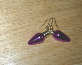 Bright   Royal  Purple  Flat  Back  Christmas Lights  Earrings  Xmas Earrings