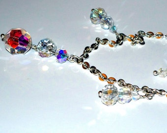 Beautiful AB Crystal Glass Necklace and  Earring Set  Magnetic Clasp   READY to SHIP