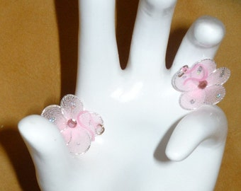 Pretty in Pink Flower Earrings Plastic Ear Findings to Match