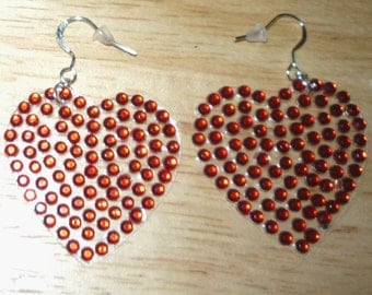 Red Red Hearts Valentines Day Earrings Little Crystalized Stones