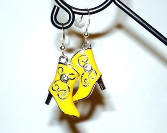 Sweet Little Yellow Cowboy Boots with Rhinestones Earrings  Rockabilly    READY TO SHIP