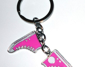 Pink Converse Running Shoes Key Chain   Chuck Taylors  Great gift for the one who has everything