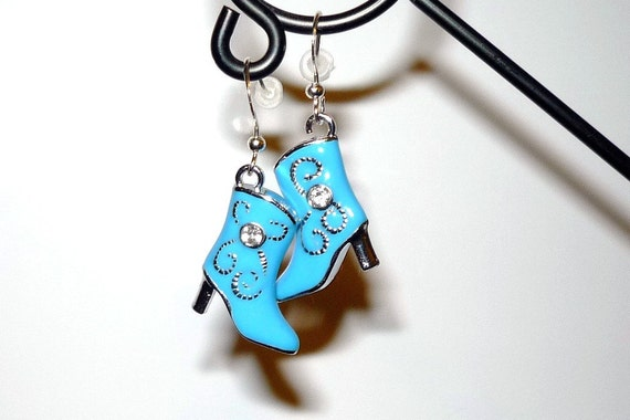 Blue Cowboy Boot Earrings Turquoise  Western Cowboy Rockabilly Boho    READY TO SHIP