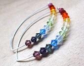 Rainbow Earrings Swarovski Crystal Sterling Silver