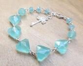 Blue Chalcedony Bracelet, Geometric shapes, Sterling Silver