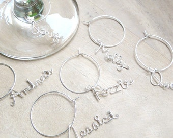 Wine Glass Charms, Bridal Party Favors, Set of 7