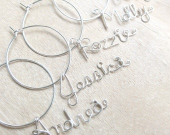 Handwritten Name Wine Charm Silver wire - Set of 2