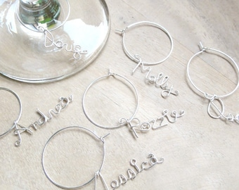 Custom Name Wine Charms - Set of 6