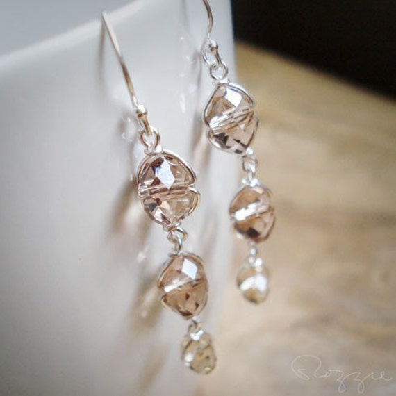 Sepia Light Brown Earrings - Beige Golden Shadow Glass
