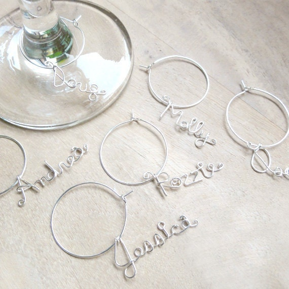 Glass Wine Charms Custom Made Wine Charms Set of 5 by Rozzie