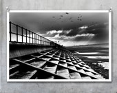 Black and white steps on the beach on Fujicolor Crystal Archive Digital PEARL glossy Paper. Crosby Liverpool monochrome winter outside sea