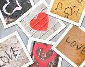 Graffiti Art Photographs - Valentine's Day street art stencil love hearts prints red white black brown wall brick