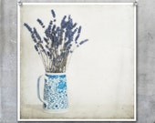 Lavender in Blue and White Jug against textured pale background photo - 10x8 inch Fine Art Photograph Print