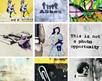 Digital Collage Sheet/2 inch square Graffiti Street Art Stencil Photos for Crafts, Scrapbook Jewellery instant download pdf jpg printable
