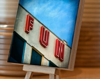 Wooden Photo Block Birch Plywood 14.5x14.5 cm Retro sign photograph Blackpool Pier Sign, freestanding, stacking, home decor, wood