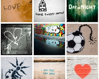 Graffiti photots digital collage sheet 2 inch square : stencil heart love urban street art for instant download / PYO printable PDF JPG