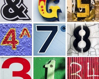 Digital Collage Sheet of 2x2 inch Numbers and Letters Photos Pictures for Crafts, Scrapbook or Jewellery Projects instant download PDF JPG