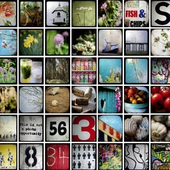 Digital Collage Sheet of Scrabble Tile sized and 2 inch Through Viewfinder Photos for Crafts, Scrapbook Jewellery instant download PDF JPG.