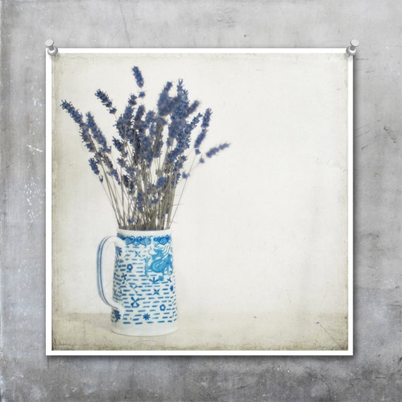 Lavender in Blue and White Jug shabby chic French country style - 7x7 12x12 18x18 22x22 inch Fine Art Photograph Print