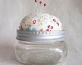 RESERVED for pjyoung217 Mason Jar Pincushion- Folklore Flower