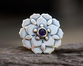 Natural Mandalas - amethyst and sterling silver ring