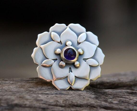 Natural Mandalas - amethyst and sterling silver ring