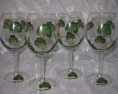 Shamrock Hand Painted Wine Glasses