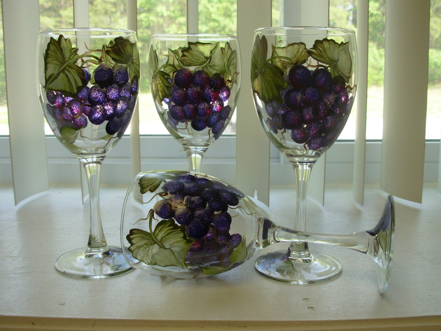 Hand Painted Grapes Wine Glasses Grape Vine Goblets Glass Set