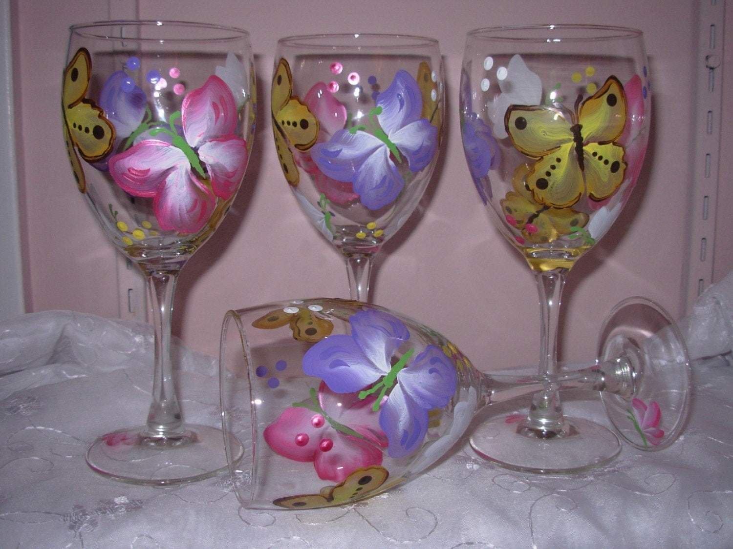 Hand Painted Butterfly Wine Glasses By Bedofrosesboutique