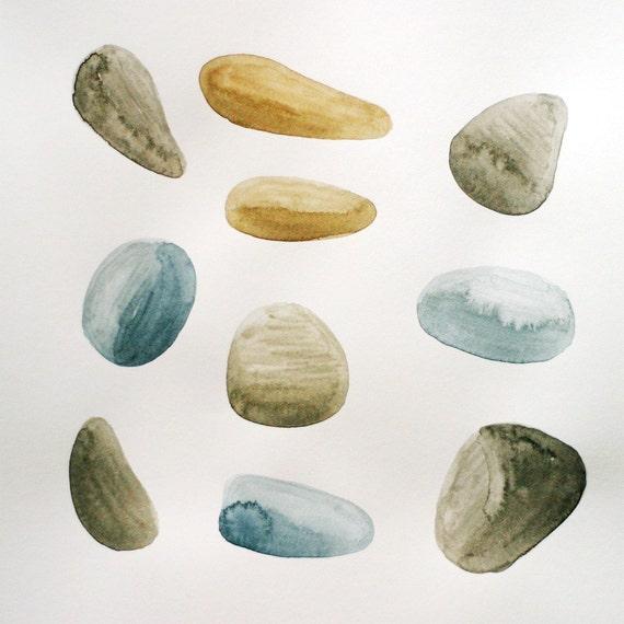 Original Illustration - Collecting Pebbles